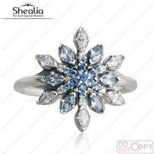 Cristal azul y Claro CZ Allanar Anillos de Plata del Copo de nieve de Navidad Adecuado Para Europa Joyería 925 Anillos de Plata Esterlina Para Las Mujeres
