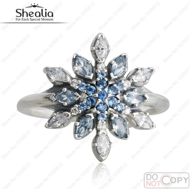 Blue Crystal & Clear CZ Pave Christmas Snowflake Silver Rings Suitable For European Jewelry 925 Sterling Silver Rings For Women