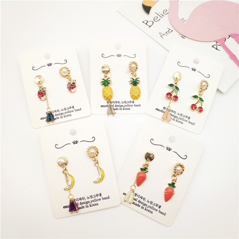 Korea New Handmade Cute Plated Banana Cherry Strawberry Carrot Pineapple Drop Earring Fashion Jewelry Accessories-JQD5