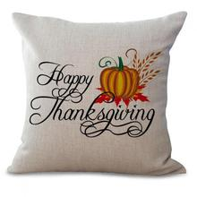 American Style Cartoon Thanksgiving Turkey Stamp Cotton Linen Throw Pillow Sofa Car Seat Cushion For Holiday Gifts