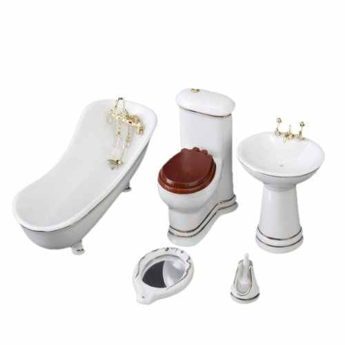 1:12 Dollhouse Miniature Furniture Bathroom White Toilet Basin Mirror 5pcs