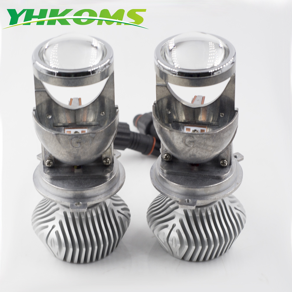 YHKOMS H4 Mini Projector Lens Car Headlight Bulbs H4 Hi/Lo Beam LHD RHD LED Headlamp Automobile LED Bulb 50W 8000LM 6500K 12V skyjoyce mini led projector lens h4 led headlight bulbs led conversion kit h4 led bulb light lamp hi lo beam headlight lhd h4
