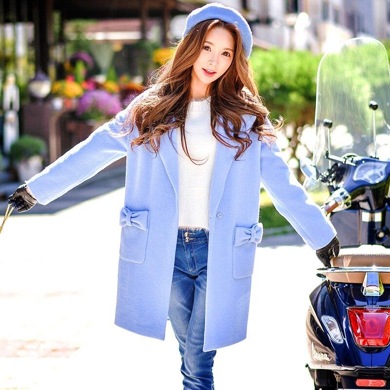 Оригинальный 2017 на осень-зиму пальто большие размеры Новые милые Тонкий костюм воротник дамы лук карман шерстяное пальто женские