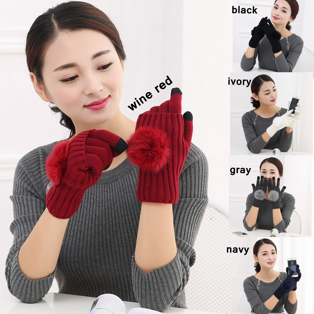 Fashion Fur Pompom Ball Winter Gloves For Women Touch Screen Gloves Ladies Warm Half Finger Knitted Gloves Female Mittens AGB806