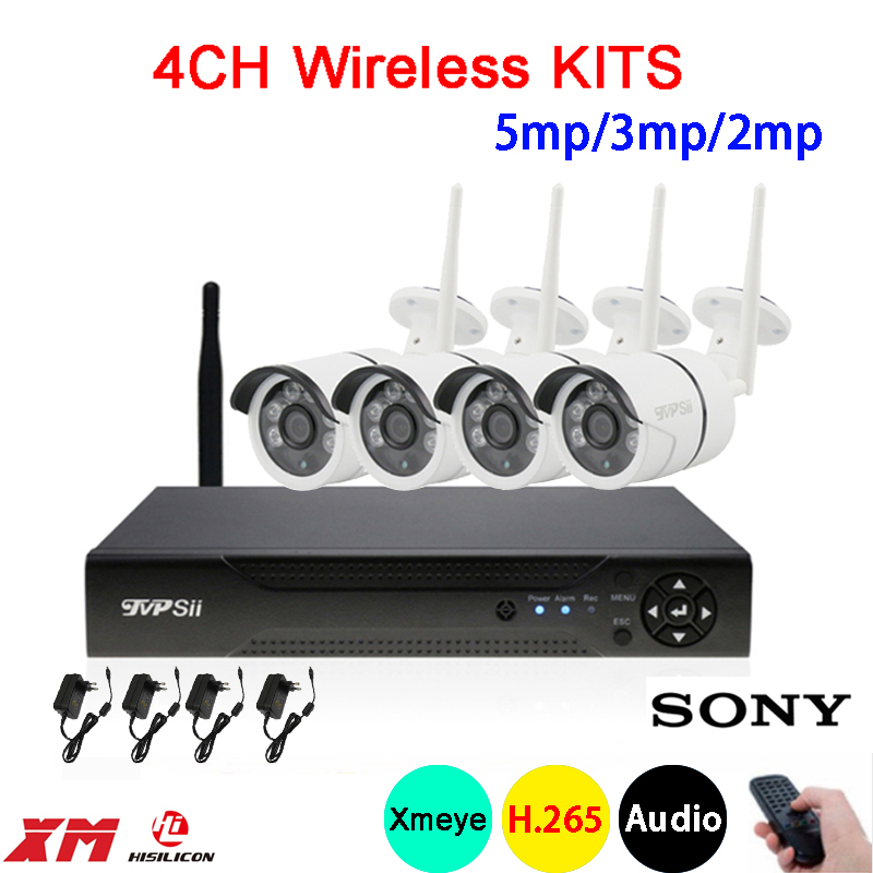 5mp/3mp/2mp Dahua six array Infrared ICsee Waterproof Audio H 265+ 25fps  4CH 4Channel WIFI Wireless IP Camera kits FreeShipping