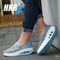 HKR 2017 spring platform women casual shoes women wove wedges shoes ladies fashion boat shoes breathable walking shoes 1668