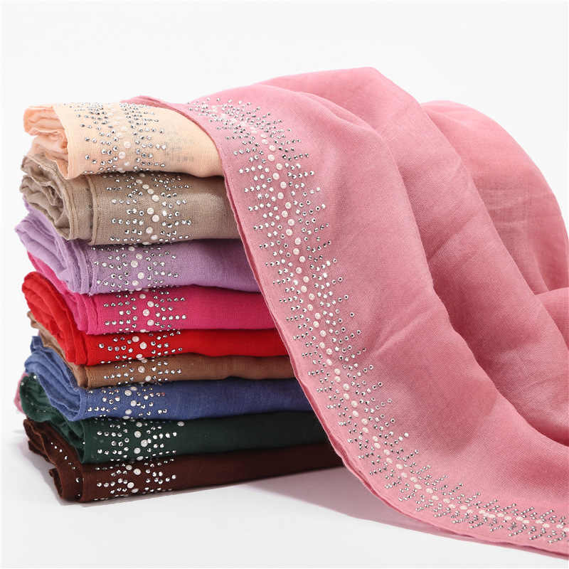 75*180cm muslim glitter cotton hijab scarf islamic soft headscarf arab head wraps and shawls foulard femme musulman turban scarf