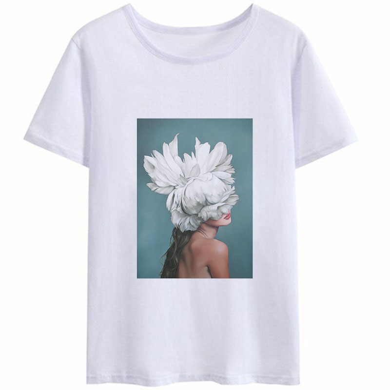 New Summer Trend Style Funny T Shirts Women <font><b>Harajuku</b></font> <font><b>Kawaii</b></font> <font><b>Sexy</b></font> Flowers Feather Oil Painting Graphic Casual Aesthetic Clothes image