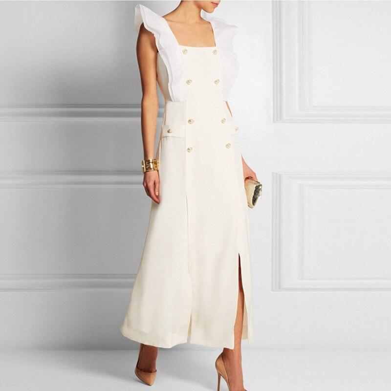 Nouvelle arrivée piste Designer superbe couleur unie sans manches Double boutonnage longue robe de base robes fendues de haute qualité