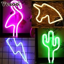 Vvsoo LOVE Letters Shape LED Light Wall Hanging USB Neon Lamp Flamingo