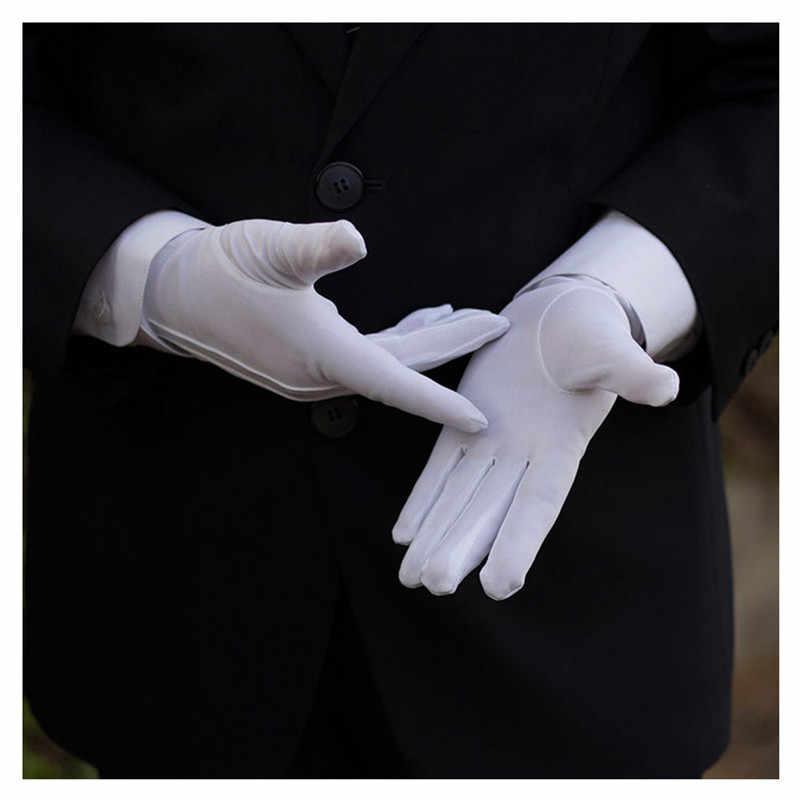 1 ペアホワイトフォーマル手袋戦術的な手袋タキシード名誉ガードパレードサンタ男性検査冬の手袋