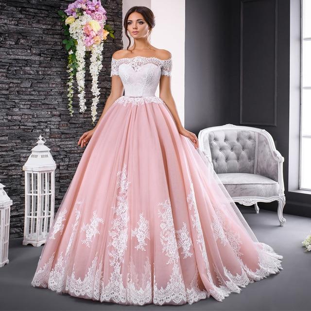 Gorgeous vestidos de novia de manga corta, vestidos rosas de encaje con apliques, vestido de baile con cuello de barco, sin hombros vestido de novia, vestidos formales de novia