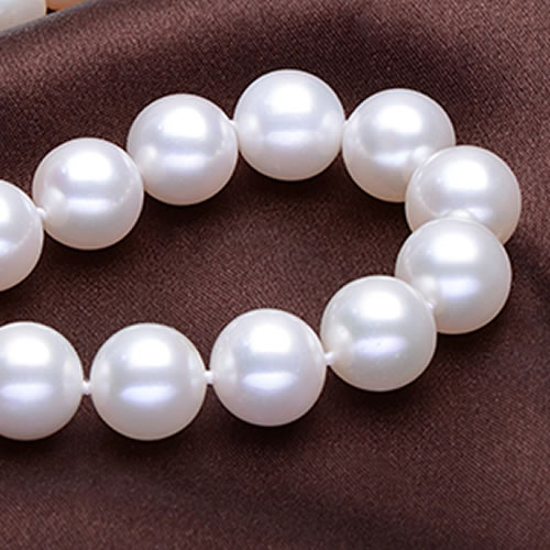925 silver real natural big Natural pearl necklace genuine round bright 925 sterling silver white send mothe