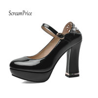 Women S Platform Square High Heel Pumps Fashion Buckle Round Toe Spring Autumn Shoes Woman Red