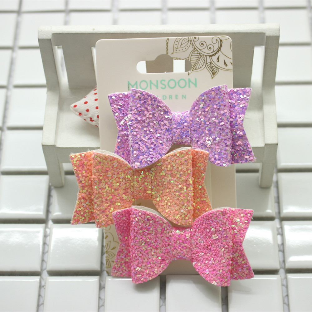 2PCS Heart Shaped Hair Clips Mermaid Colorful Sequin Hairpin Alligator Girls