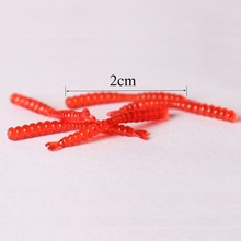 Anmuka Hot Selling 200Pcs/Lot 6.6g 2cm Plastic Lures Artificial Fishing Red Worms Bait Bionic Soft Lures Soft Bait Fishing Lure
