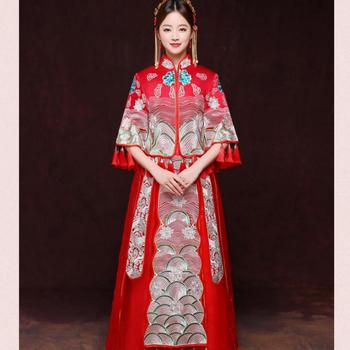 Chinese Ancient Women Bride Wedding Dress Gown Handmade Embroidery Cheongsam Rhinestone Red Qipao Marriage Gift Toast Clothing