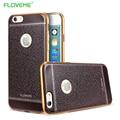 Litchi patrón de lujo tpu caso suave para el iphone 6 6 s 7 más chapado Marco Con Logo Agujero Cubierta de Gel de Silicona Retro Para iphone6 7