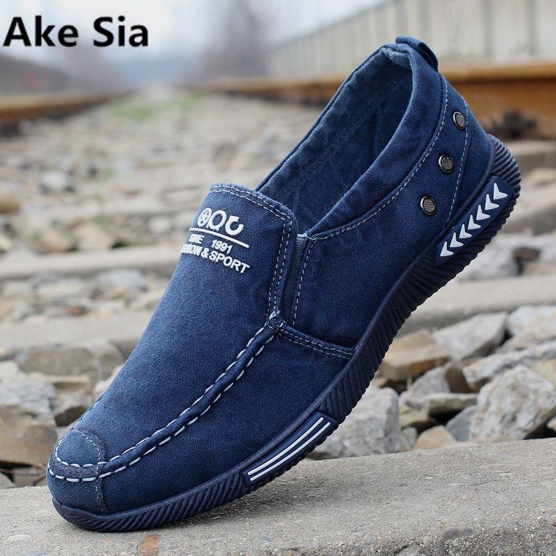 Ake SIA Новая летняя мужская парусиновая обувь дышащая обувь без застежки мужские низкие, чтобы помочь Старый Пекин мужские обувь