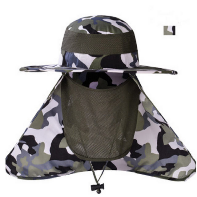 c395f7af06c Which in shower Wide Brim Camouflage Hat With Rear and Face Veil UV  Protection Bionic Bucket Hat Face Neck Protection Sun Cap