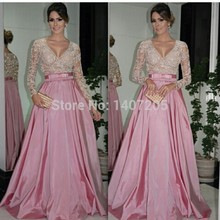 Beautiful V Neck Sheer Bodice Long Sleeve with Appliques Lace Beads Sash Bow A Line Pink Evening Dresses 2019 Vestido