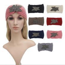 2016 Fashion Women Ladies Winter Crochet Knitted Crystal Rhinestone Turban Headband Beaded Flower Jewel Hair Band