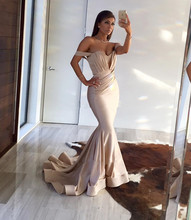 Elegant champagne mermaid prom dress sexy open back v neck pleat satin evening dresses long 2016 high quality robe soiree longue