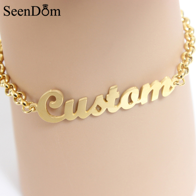 seendom stainless steel custom personalized name bracelet gold