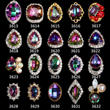 20 kinds New Arrival 100pcs for Rainbow Metal Nail Art Rhinestones Point Back Strass Chatons Diamant 3D Decoration