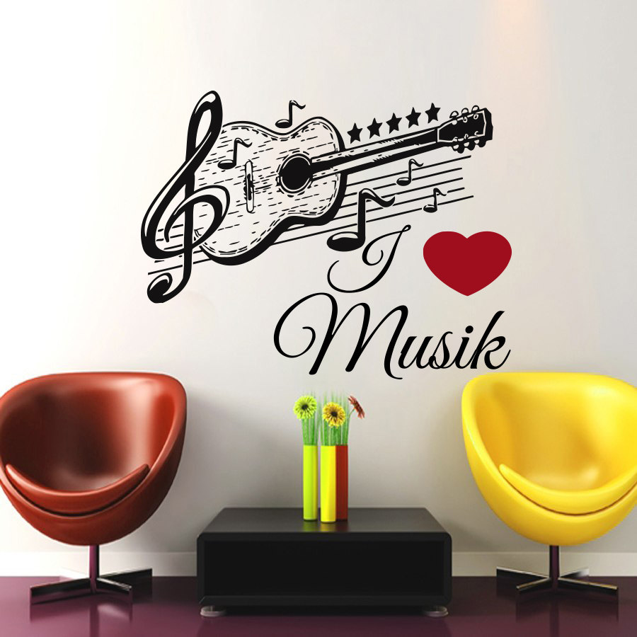 Dctop german music guitar wall sticker black removable art for Stickers para pared