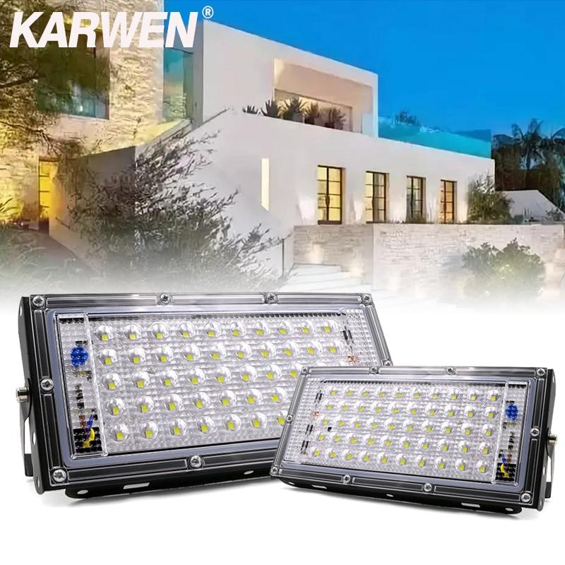 KARWEN LED Flood Light 50W AC 220V 240V Waterproof Ip65 Spotlight Outdoor Garden Lighting Floodlights Led Reflector Cast Light