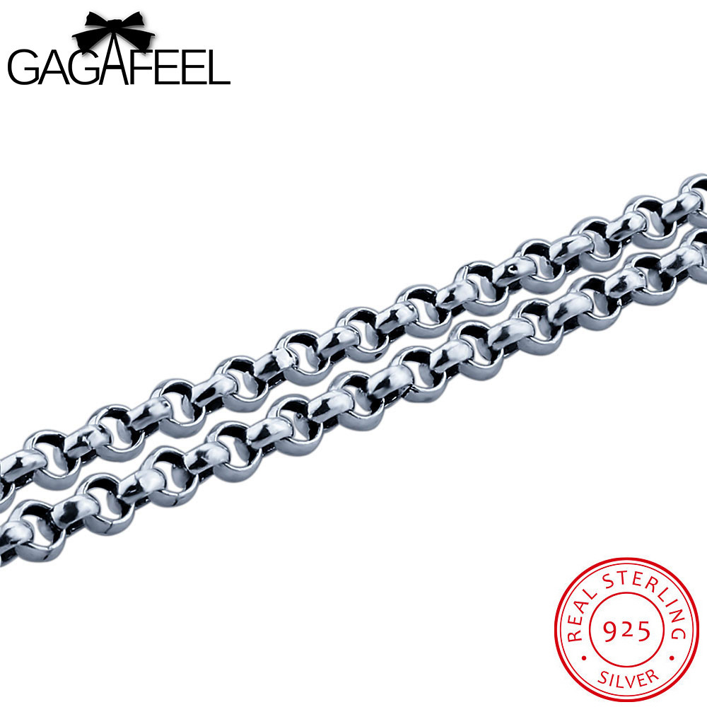 GAGAFEEL Maxi Necklaces 925 Thai Sterling Silver Jewelry For Men Vintage Punk Link Chain Male Boyfriend