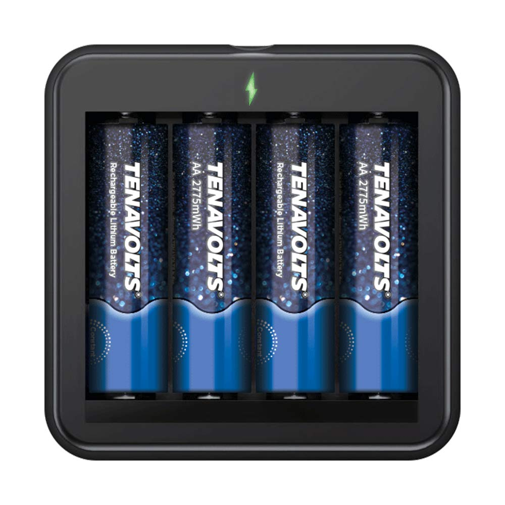 NANFU 4 Pcs Set TENAVOLTS AA Rechargeable Battery 2775 mWh Lithium Li ion Batteries with Battery Charger Set High Capacity in Rechargeable Batteries from Consumer Electronics