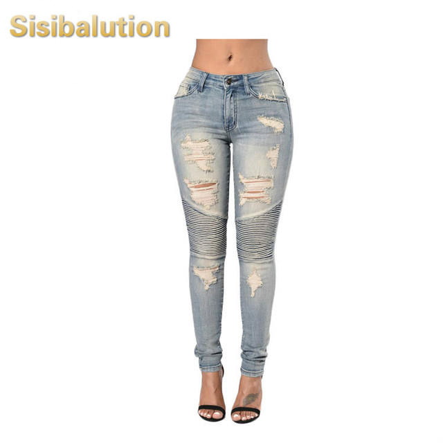 1d0414bd735 2017 Ladies Stretch Ripped Sexy Skinny Jeans Womens High Waisted Slim Fit  Denim Pants Slim Denim Straight Biker Skinny Ripped