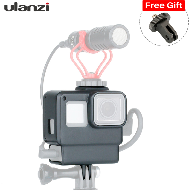 Ulanzi Vlog Housing Case Shell for GoPro 7 6 5, Vlogging Protective Cage Frame w Microphone Cold Shoe Mount , GoPro Accessories