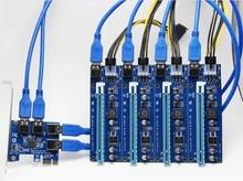 60 см USB 3.0 PCIe Riser Card pci-e Express 1x до 4 Порты и разъёмы pci-e 16x Extender адаптер SATA 15Pin-6Pin Мощность кабель для БТД горной