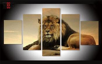 Arte De Lona De 5 Piezas | PED En HD Enmarcada Impresión Grande León Pared Cuadros Arte Entregado Directamente 5 Piezas Cartel Animal Para Sala Cuadros Decoracion Regalo