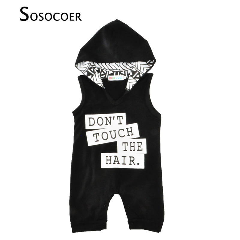 SOSOCOER Baby Boy Romper Summer 2018 Fashion Sleeveless Dont Touch The Hair Newborn Hooded Rompers Jumpsuit Kids Boys Clothes