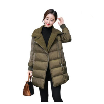 Army Green Lamb's Wool Jacket 2018 Winter Down Cotton Coat Women Zipper Warm Parkas Abrigo Mujer Military Jackets Coats C3435