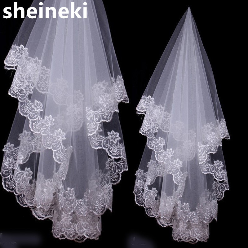 Ivory One Layer 1.2 Meter Bridal Veil 2019 Beautiful Wedding Accessories Appliques Ivory Wedding Veils,WHITE,120cm