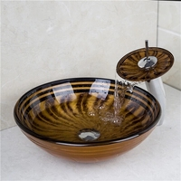 New VT4236 Tempered Glass Vessel Round Bathroom Washing Sink Set With Mounting Ring And Single Handle