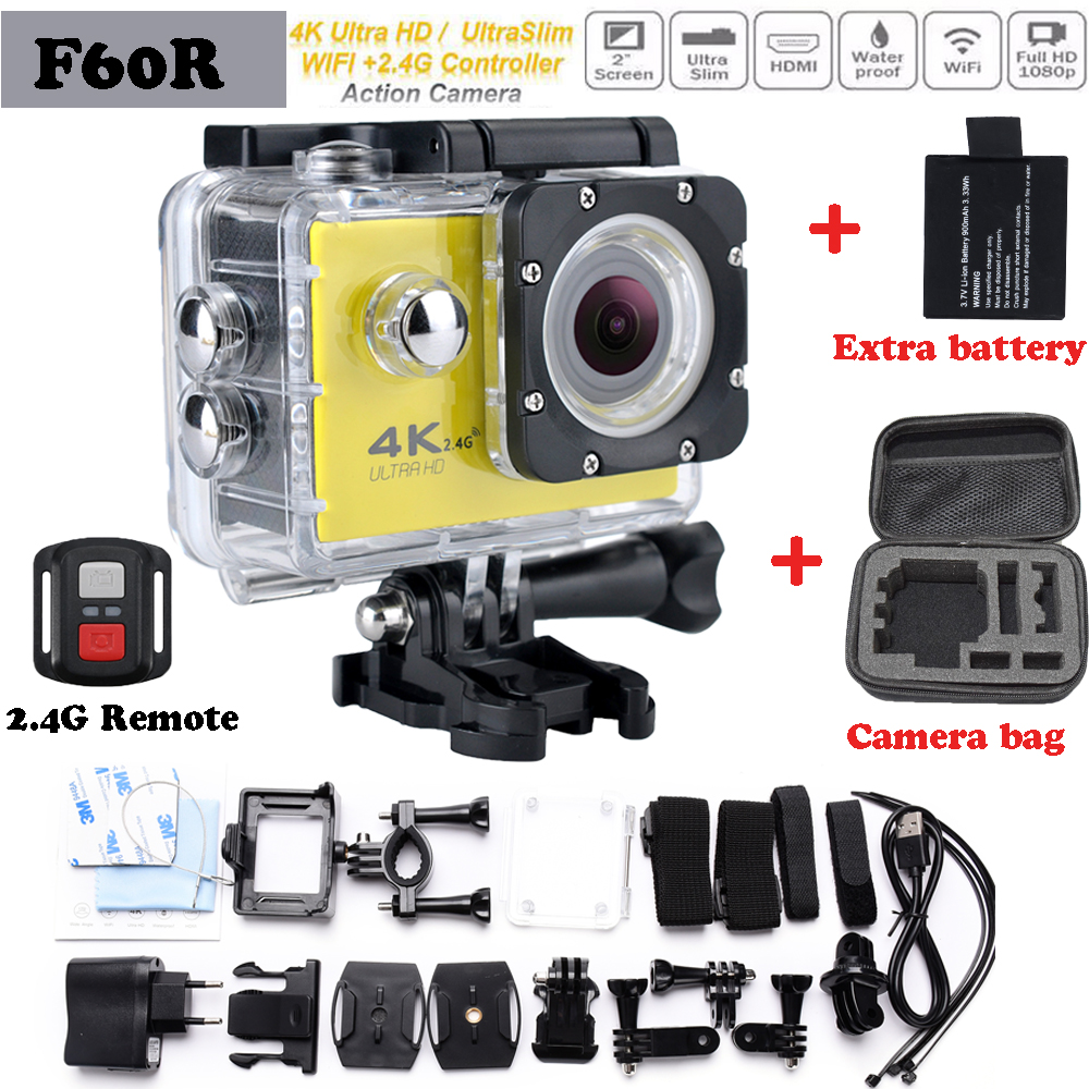 F60 Upgraded version Ultra HD F60R Wifi 4K Action Camera go pro style 2.0 inch screen 170 Wide Lens 30M waterproof Action cam