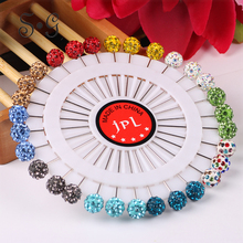 30pcs / lot New Fashion Colorful Brooches Ball Shape  Muslim Style Brooch For Scarf Fabric Shawl Women Rhinestone Brooch