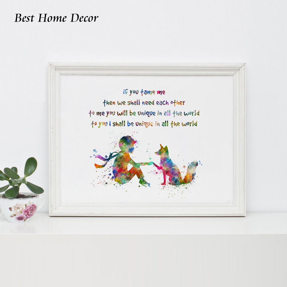 If You Tame Me Then We Shall Need Each Other Quotes Watercolor Art Print Poster The Little Prince with Fox Wall Art Decor AP080