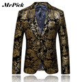 Mrpick Men Blazer Gold Printing 2016 New Fashion Jacket Men  Personality Trend Blazer Suit C004