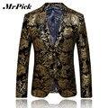 Mrpick hombre Blazer oro impresión 2016 nueva moda chaqueta hombres tendencia de la personalidad juego de la chaqueta C004