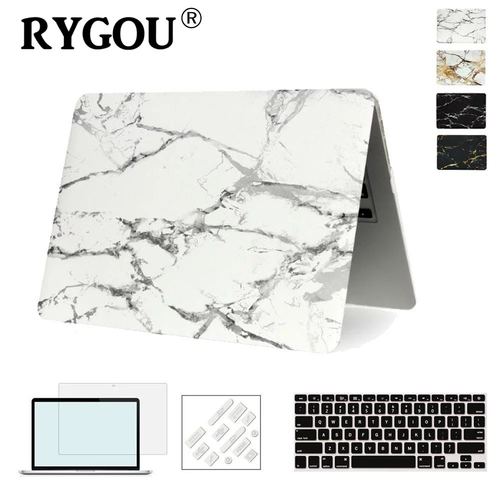 RYGOU Marble Texture Cover Case For Apple Macbook Air Pro Retina 11 12 13 15 inch For Mac book Pro 13 15 A1706 A1707 A1708 Case matte glitter bling case for apple macbook air pro retina 11 12 13 15 with touch bar 2017 a1706 a1707 a1708 for macbook 11 case