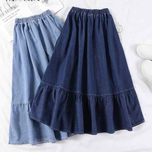 الصيف Saia الإناث خط طويل الدنيم تنورة جيوب النساء عالية الخصر ميدي الجينز التنانير الأزرق الداكن ، ضوء الأزرق زائد حجم تنورة AE591