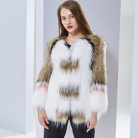 real fur coat fashion Knitted natural Knitted Raccoon Dog Fur coat women fox fur coats fox Jacket