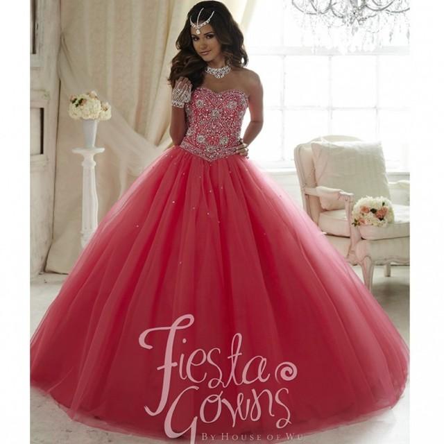 Único vermelho melancia quinceanera 2017 vestido de n ° s 15 tulle sweet 16 vestidos bordados beading meninas debutante vestido